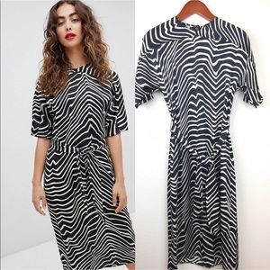 Zebra Midi Dress by Mango